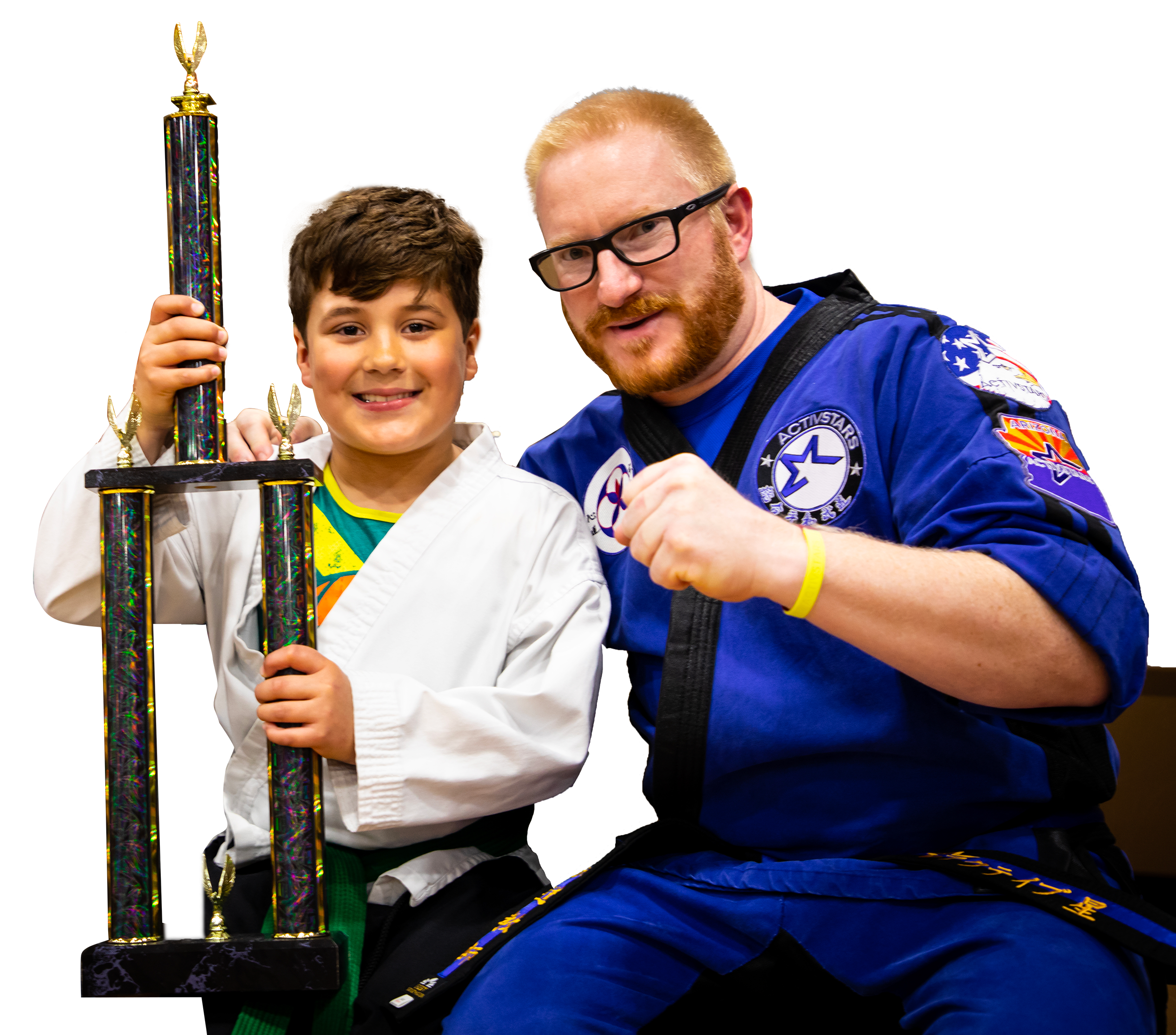 Student with Trophy and Instructor